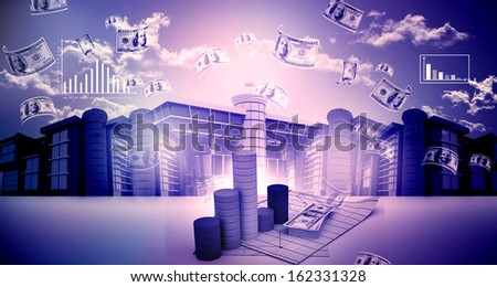 3d business city or urbanisation  - stock photo