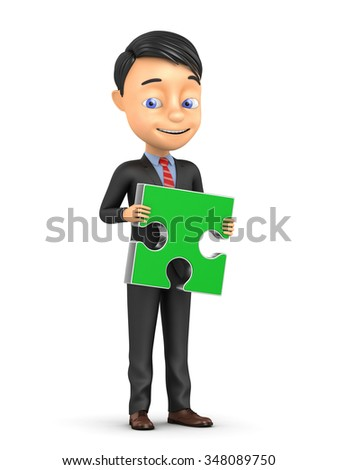 3d business concept. Businessman holding green puzzle on a white background - stock photo
