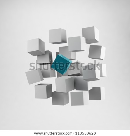 3d business cube - stock photo