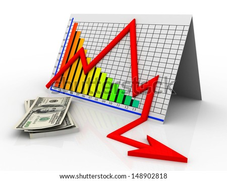 3D business decline graph and dollar  - stock photo