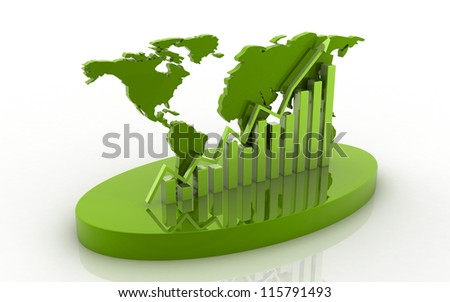 3d business graph with bevel world map isolated on white background