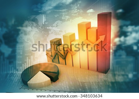 3d business graph with pie on abstract background  - stock photo
