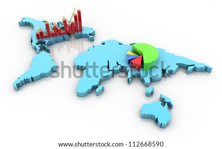 3d business growth concept with business graph and pie diagram - stock photo