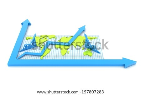 3d business growth concept with business graphs and arrow