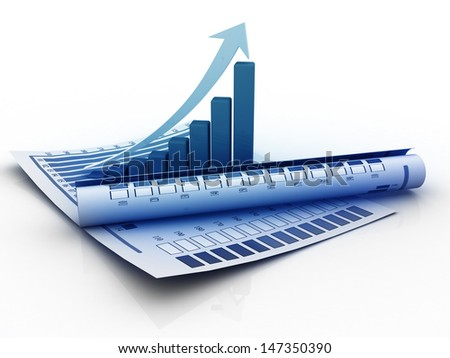 3d business growth graph - stock photo