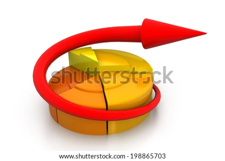 3d business growth  pie graph