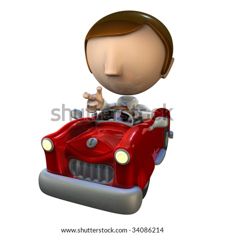 3d business man character driving in a red car
