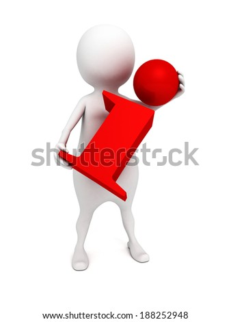 3d business man holding red information icon. 3d render illustration - stock photo