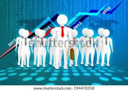 3d business man in color backgound - stock photo