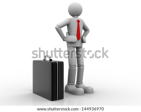 3D Business man - isolated over a white background