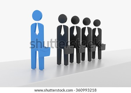 3D Business man lead the team - stock photo