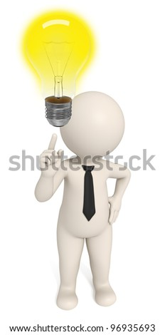 3d business man pointing to a light bulb to pay attention - he's got an idea - DOF