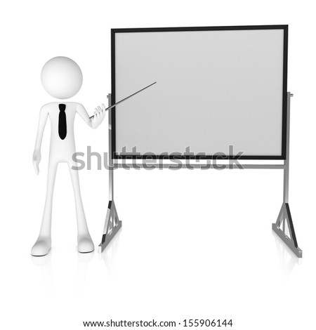 3d business man presenting with pointer and whiteboard. Rendered on white background