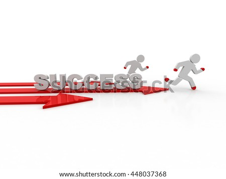 3d business man run on red success arrow