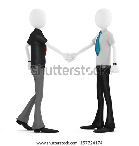 3d business man shaking hands meeting new people on white background - stock photo