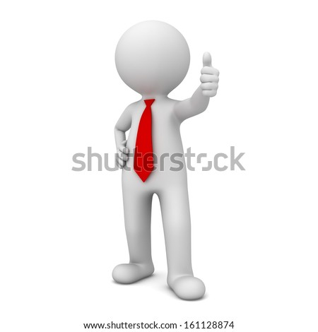 3d business man showing thumbs up like isolated over white background - stock photo
