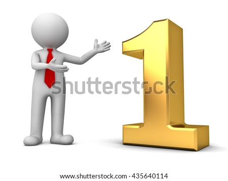 3d business man standing and presenting 3d gold number one isolated over white background with shadow. 3D rendering. - stock photo