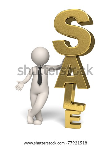 3d business man standing near a big gold sale text - Isolated