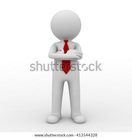 3d business man standing with arms crossed isolated over white background. 3D rendering.