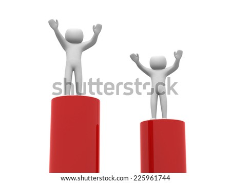 3d business man standing with arms wide open on top of red bar. Isolated over white background, business concept  - stock photo