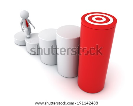 3d business man stepping up to his successful goal on top of business graph over white background - stock photo