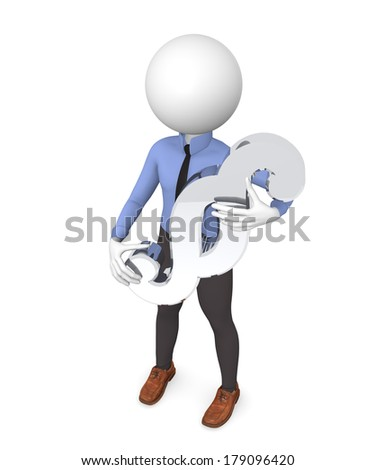 3d business man with a paragraph icon - stock photo
