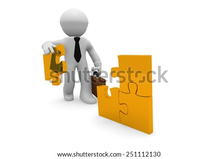 3d business man with a piece of a golden puzzle - stock photo