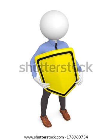 3d business man with a protective shield