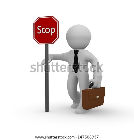 3d business man with a stop sign