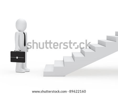 3d business man with briefcase for stairs - stock photo