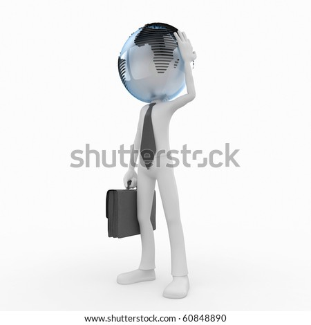 3d business man with globe head isolated on white