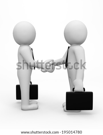 3d business men making a deal and shaking hands - Isolated - stock photo