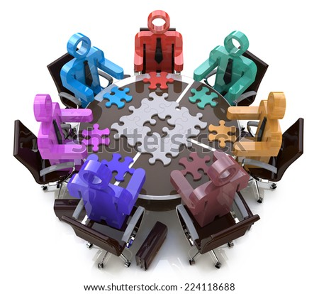 3D Business People and Jigsaw Puzzle Pieces. Teamwork in a business meeting looking for the best solution  - stock photo