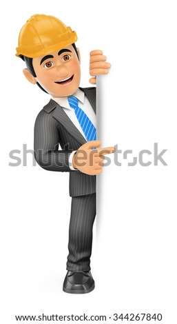 3d business people. Architect pointing aside. Blank space. Isolated white background. - stock photo