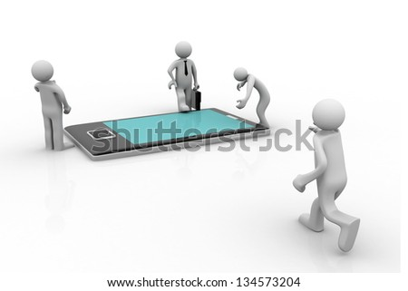 3d business people around tablet. Isolated on white background. - stock photo