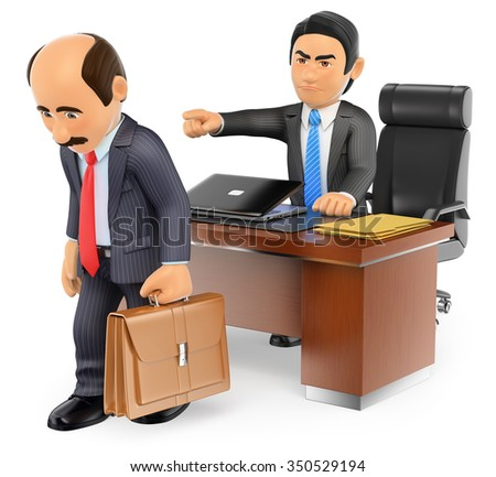 3d business people. Businessman boss firing an employee at office. Isolated white background. - stock photo
