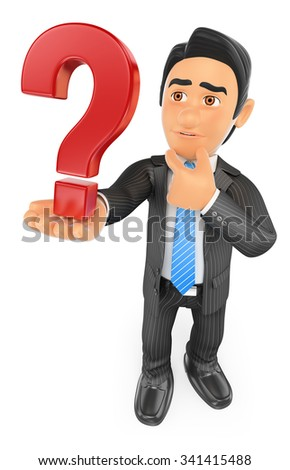 3d business people. Businessman doubtful with a question mark. Isolated white background. - stock photo