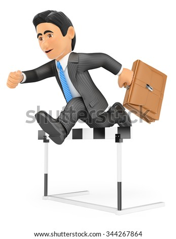 3d business people. Businessman in a hurdle race. Overcoming concept. Isolated white background. - stock photo