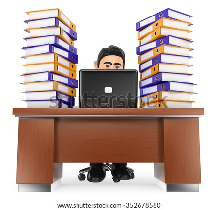3d business people. Businessman in the office with much work to do. Isolated white background. - stock photo