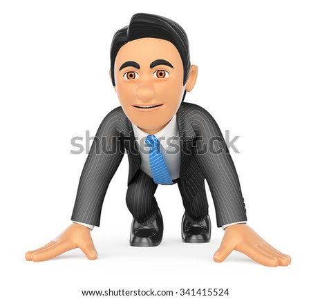 3d business people. Businessman ready at the start of a race. Isolated white background. - stock photo