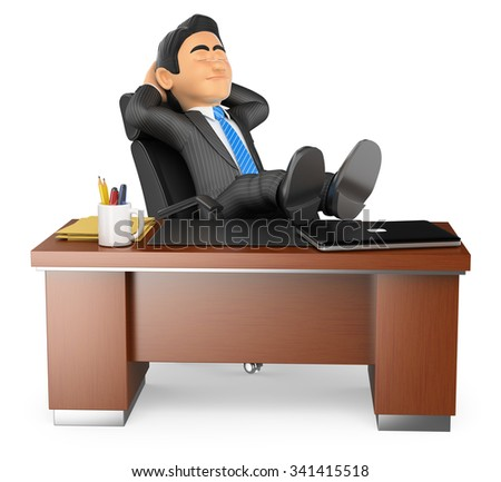 3d business people. Businessman resting in office. Isolated white background. - stock photo