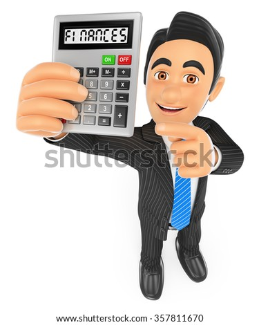3d business people. Businessman showing a calculator. Finances concept. Isolated white background. - stock photo