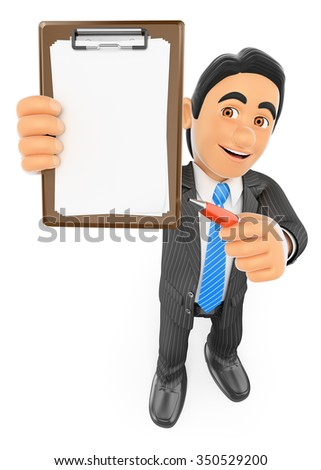 3d business people.  Businessman with blank clipboard and a pen. Isolated white background. - stock photo