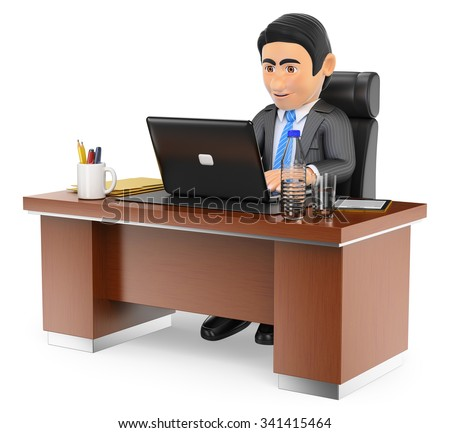 3d business people. Businessman working in the office with his laptop. Isolated white background.