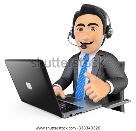 3d business people. Call center employee working with thumb up. Isolated white background. - stock photo