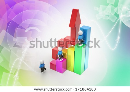 3d business people climbing on bar graph