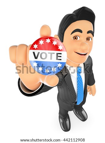 3d business people illustration. Businessman with a vote badge. Isolated white background. - stock photo