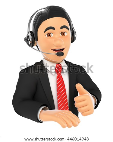 3d business people illustration. Call center employee with thumb up. Isolated white background. - stock photo