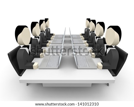 3D business people. Meeting. 3D illustration. - stock photo