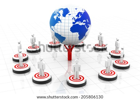 3d business people on target around the world, leader holdings globe - stock photo